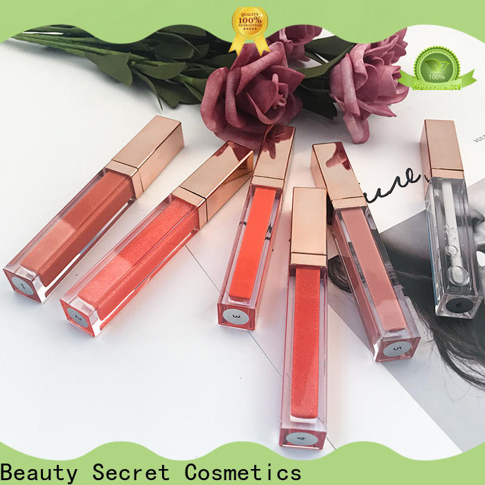 Beauty Secret Cosmetics mineral custom lip gloss with gold cap for makeup