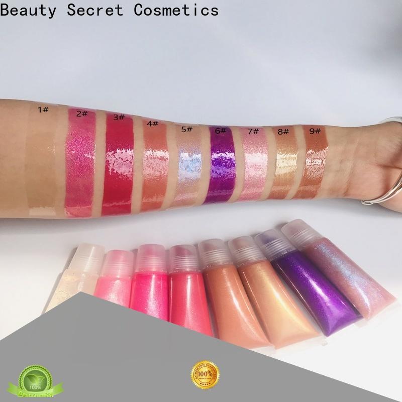 Beauty Secret Cosmetics waterproof wholesale lip gloss with gold cap for sale