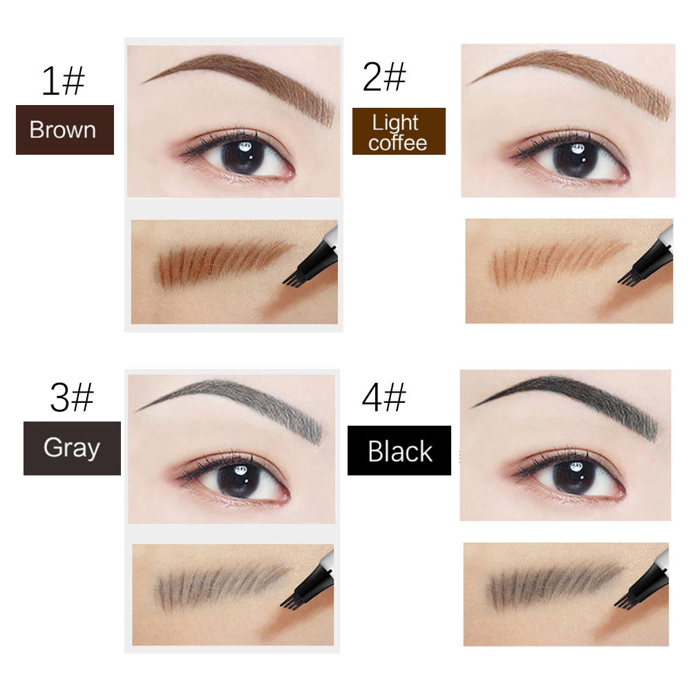 Wholesale Makeup 4 fork tip liquid eyebrow pen waterproof long lasting 3D tattoo eyebrow pencil private label