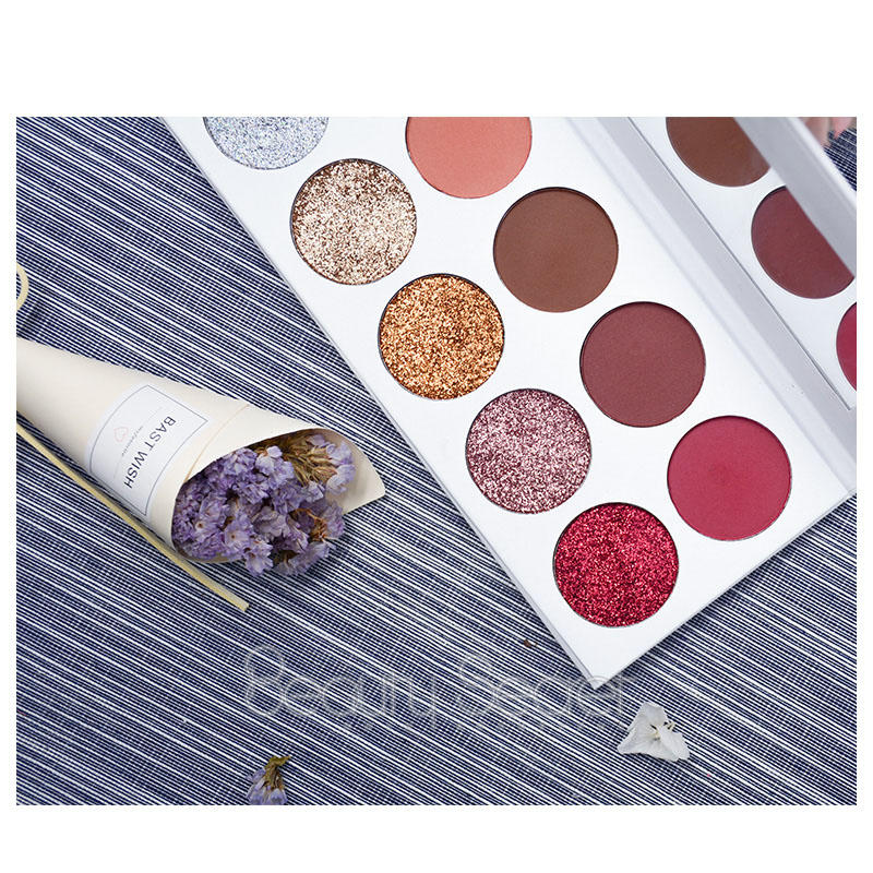 10 Colors White Cardboard High Pigment Matte Private Logo Eyeshadow Palette With Mirror