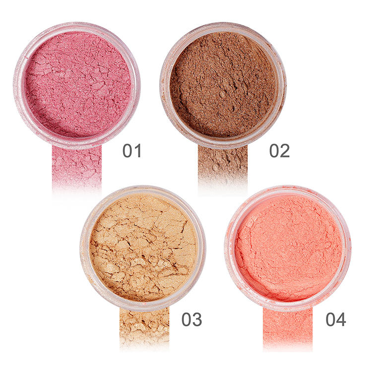 Customized new 4 color shimmer makeup contour loose pressed powder highlighter