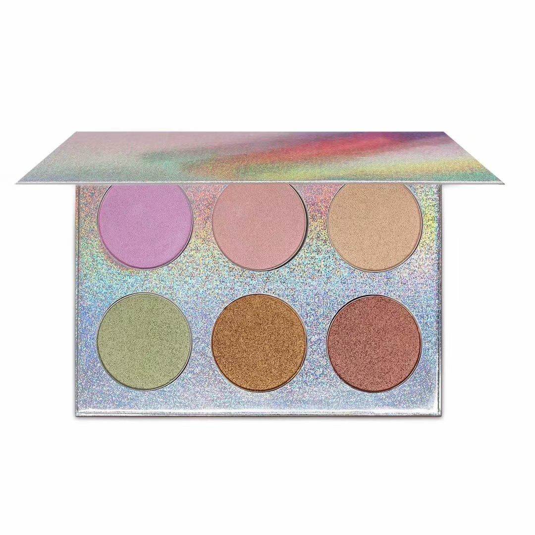 Cosmetic 6 colors custom logo loose pressed private label makeup highlighter pressed powder palette