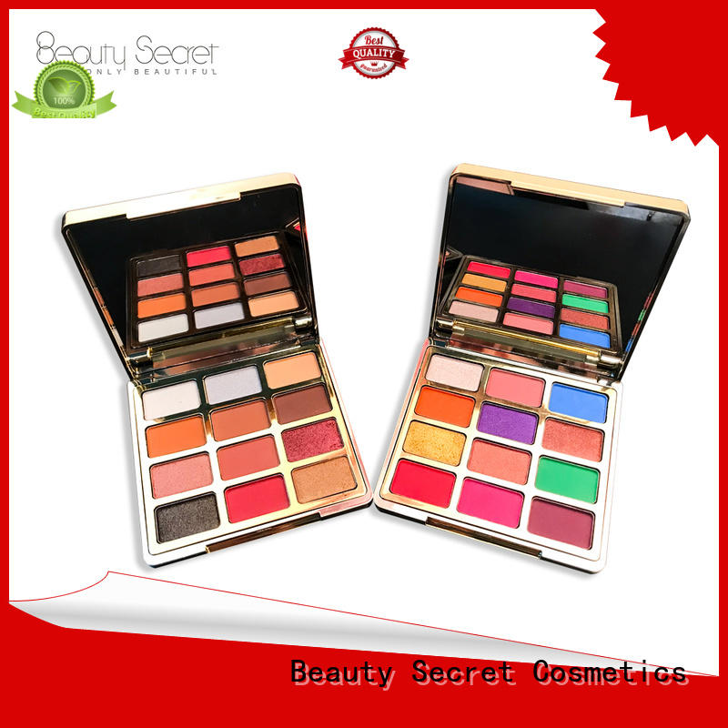 Beauty Secret Cosmetics shining new eyeshadow palettes with mirror for ladies