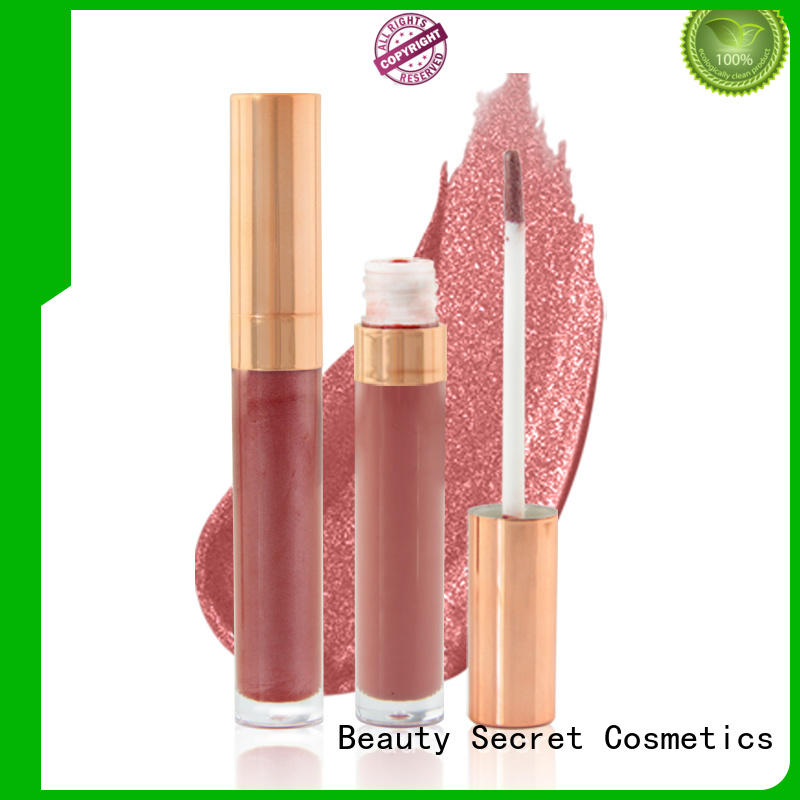 Beauty Secret Cosmetics waterproof lip gloss shimmer with your own logo for sale